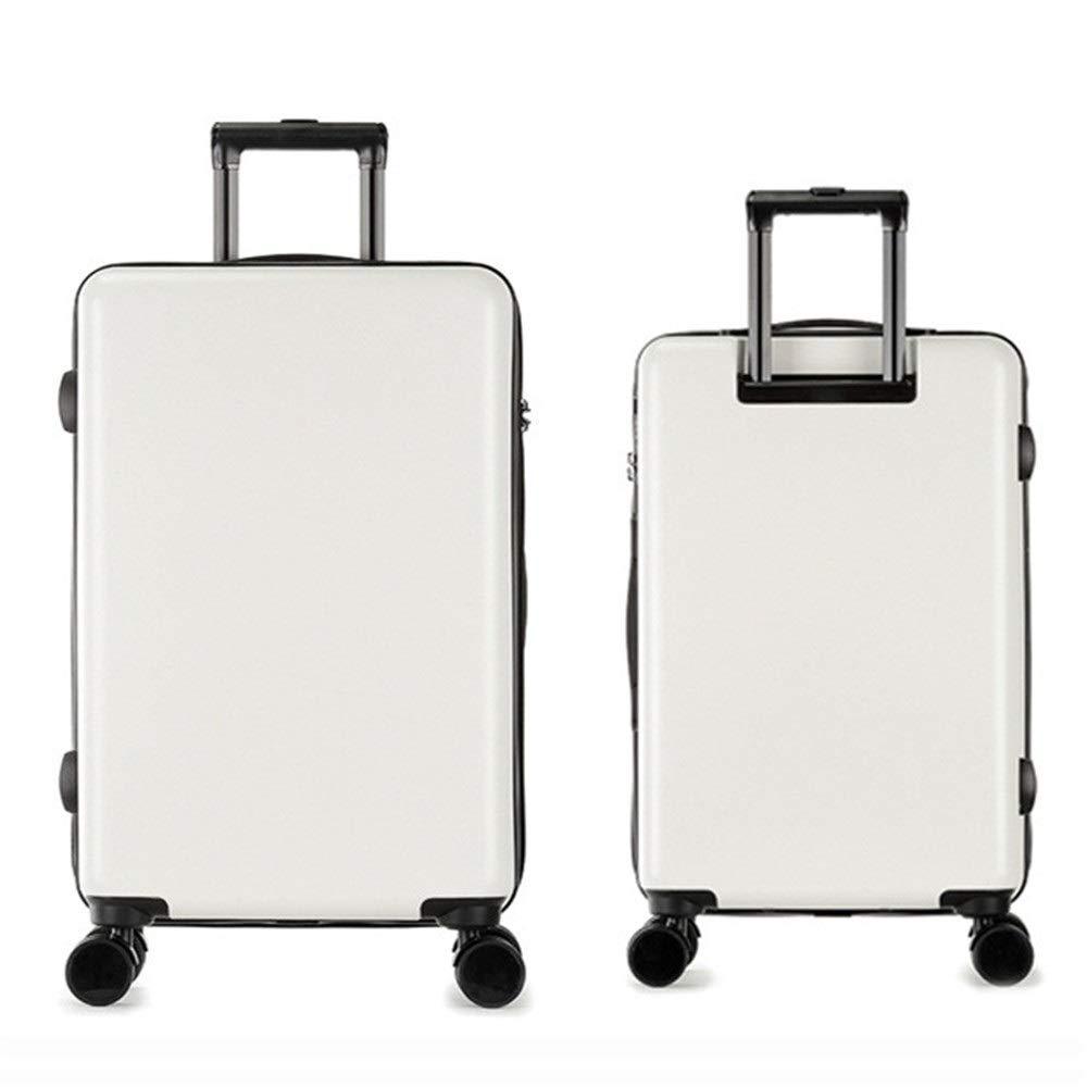 スーツケース 荷物2ピースセットスーツケーススピナーハードシェル耐久性のあるハードシェルスピナースーツケース付きTSA公認ロック20インチ24インチ (色 : 白, サイズ : 20in+24in) B07VC6W23Q 白 20in+24in