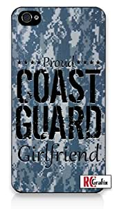Proud Coast Guard Girlfriend Digital Camo Blue Camouflage Iphone 4 Quality TPU SOFT RUBBER Snap On Case for Iphone 4 - AT&T Sprint Verizon - White Case