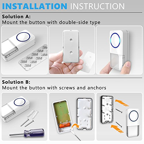 Wireless Doorbell - [NEW 2018] Kit -2 Electronic Receiver Chimes +Waterproof Transmitter Button-1000ft/300m Operating Range -52+ Different Ringtones -Adjustable Volume -Easy Installation by MAVES (Image #6)