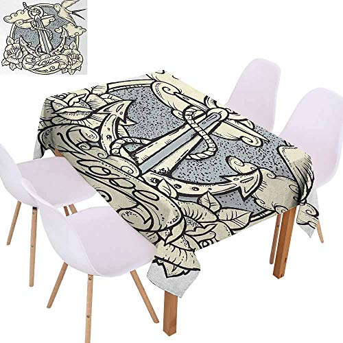 - UHOO2018 Anchor,Decorative Table Cover,Anchor and Roses Antique Monochrome Clouds Bird Wings Old Style Sketching Print,for Wedding, Anniversary,Eggshell Grey,55
