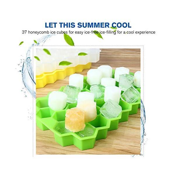 Vaschette per cubetti di ghiaccio con coperchio, 37 cubetti di ghiaccio con coperchio rimovibile, in gel flessibile e… 4 spesavip