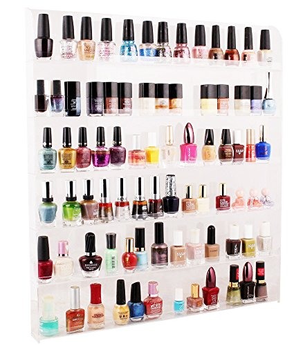 Cq acrylic 102 bottles of 6 layers nail polish rack-Clear nail polish display- On the wall /rack four holes /Security caught/21.3x1.77x23.6