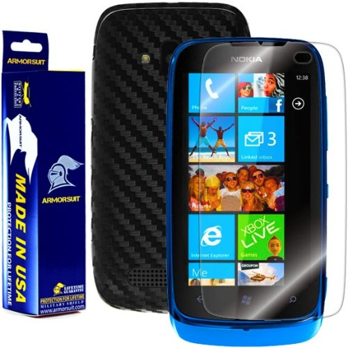 Armorsuit MilitaryShield Black Carbon Fiber Skin Wrap Film + HD Clear Screen Protector for Nokia Lumia 610 - Anti-Bubble Film (Nokia 610 Cover)