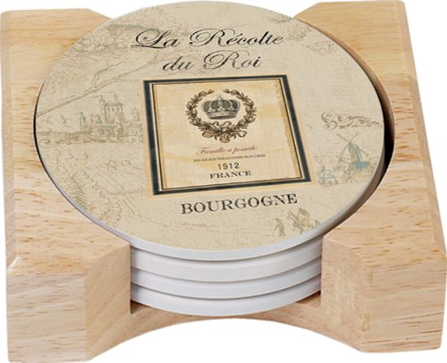 (CounterArt Classic Flavors Design Round Absorbent Coasters in Wooden Holder, Set of 4)