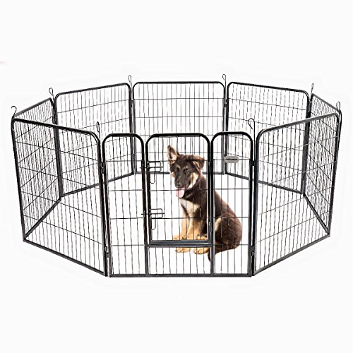 PetPremium Dog Pen Metal Fence Gate Portable Outdoor RV Play Yard | Heavy Duty Outside Pet Large Playpen Exercise | Indoor Puppy Kennel Cage Crate Enclosures | 32' Height 8 Panel