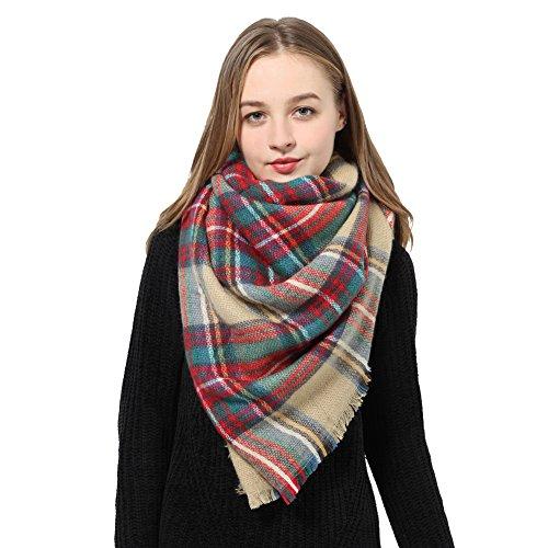 Womens Plaid Blanket Scarf Winter Scarf Large Winter Tartan Checked Wrap Shawl