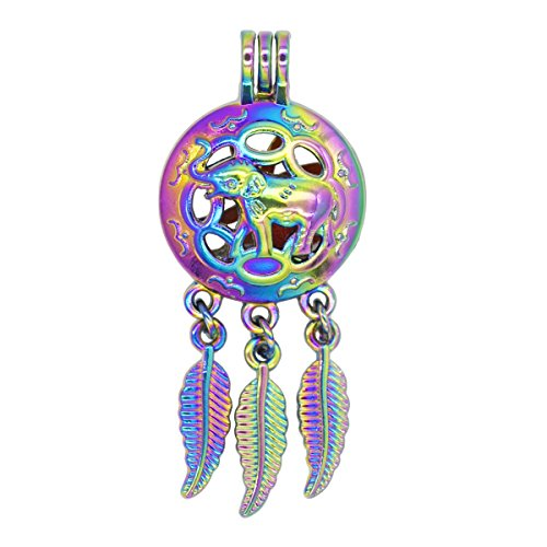or Dreamcatcher Elephant Pearl Bead Cages Perfume Essential Oil Diffuser Locket Pendant Jewelry Making Necklace DIY ()