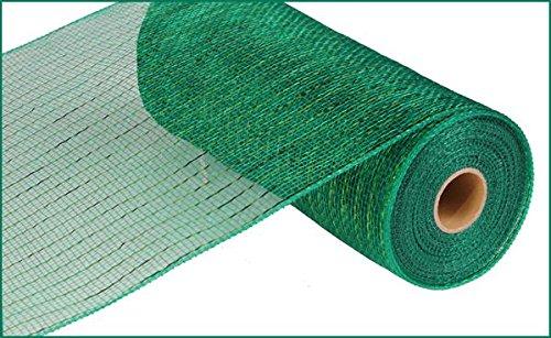 10 Inch x 30 Feet Deco Poly Mesh Ribbon - Metallic Emerald Green : RE130106 -