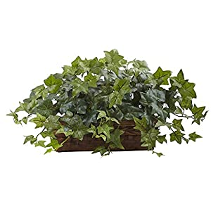 Nearly Natural Puff Ivy Silk Plant with Ledge Basket 35
