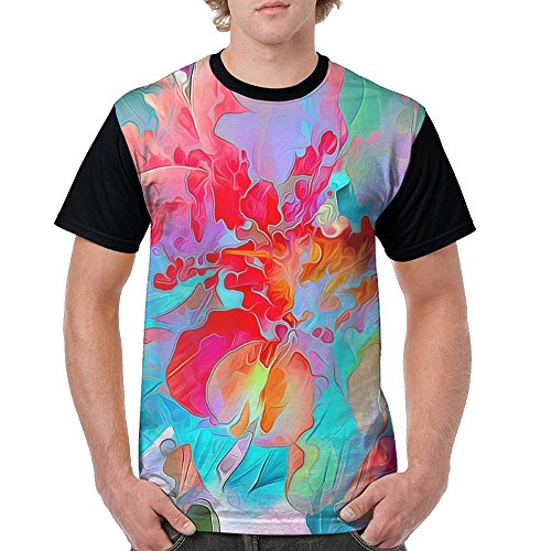 cc737d917 Men's Unique T Shirts Artistic Colorful Flowers Illustration Short Sleeve T- Shirt