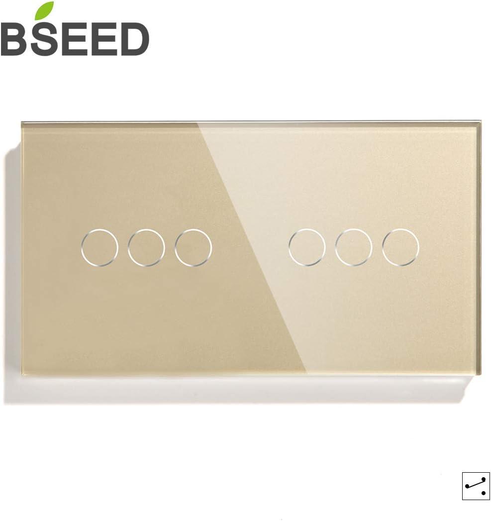 BSEED Doble Interruptor Tactil 1 Gang 1 Way Panel de Vidrio 157 86 Interruptor de La Luz de La pared BLanco