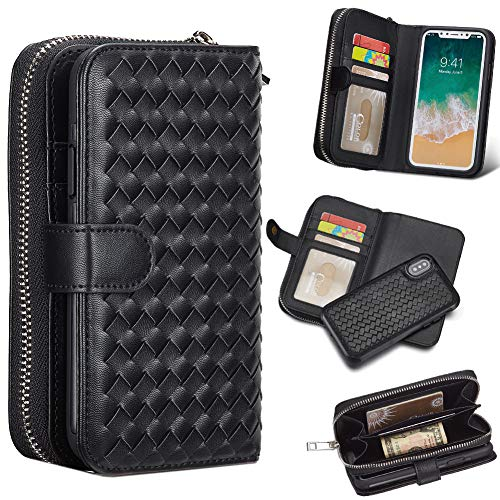 iPhone X Case,iPhone Xs Case,iPhone 10s Case,Leather Wallet with Card Holder for Men/Women's iPhoneX iPhoneXs iPhone10 Phone Accessories Organizer Shell Skin Magnetic Detachable Cover