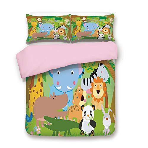 Pink Duvet Cover Set,Queen Size,Funny Playful Jungle Animals Wildlife Mammals Trees Flowers Colorful Cute Nature,Decorative 3 Piece Bedding Set with 2 Pillow Sham,Best Gift For Girls Women,Multicolor