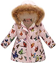 Jesfe Girls' Hooded Puffer Jacket, Fleece Jacket Thick Cotton Fur