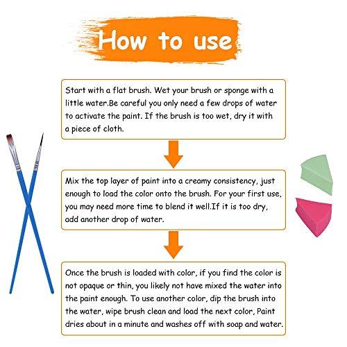 Miserwe Face Paint Kit-18 Colors,40 Stencils,1 Silver Sticker,2 Glitter Powder,4 Brushes, 4 Sponge Kit Professional Safe Non-Toxic Washable Body & Face Paint for Kids Adult