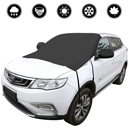 BomStar Windshield Snow Cover None Scratch Ice Removal Wiper Visor Protector All Weather Winter Summer Auto Sun Shade for Cars Trucks Vans and SUVs with 81x 60