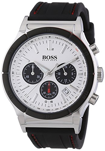 Hugo Boss Women's 44mm Black Rubber Stainless Steel Case Quartz Watch 1512499