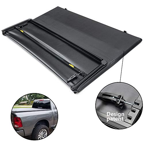 Gplus Soft Vinyl Tri-Fold Truck Cargo Bed Tonneau Cover Compatible for Dodge Dakota Quad Cab (w/o Utility Track) 05-11/06-08 Mitsubishi Raider | Fits 5.3ft / 63.6in Shor Bed ONLY