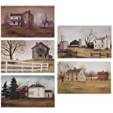 Canvas Prints - Billy Jacobs Countryside Canvas Collection Small - 5 Pc Set Primitive Country Rustic Art Set