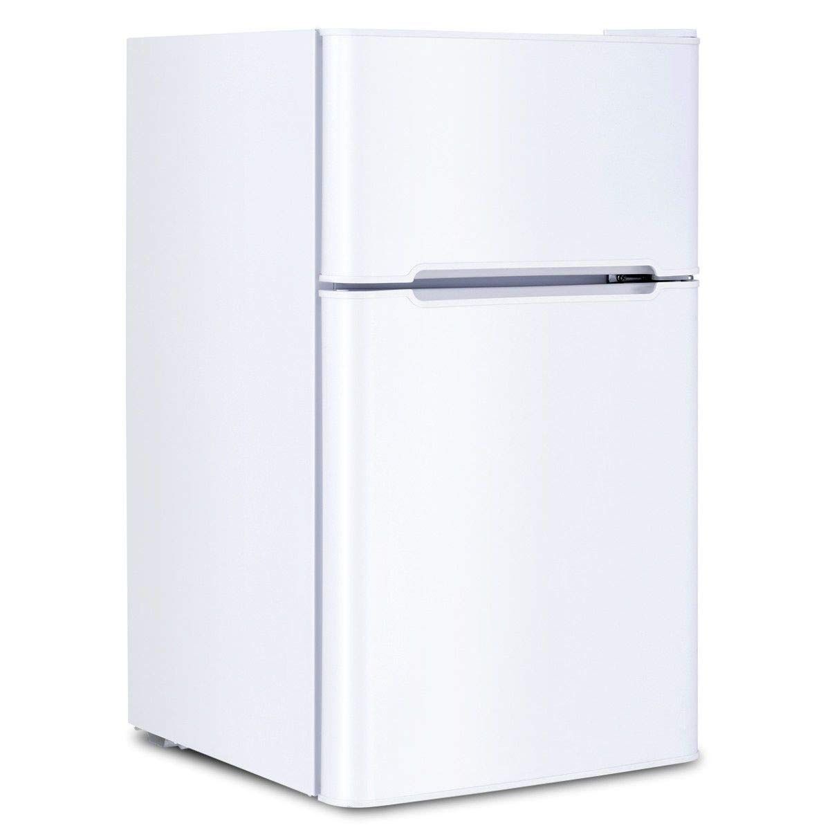 White 3.2 Cu. Ft. Stainless Steel Double Doors Compact Mini Refrigerator Internal Freezer Compartment Cooler Fridge Perfect For Home Kitchen Hotel Office Dorm Wet Bars Adjustable Temperature Mechanism