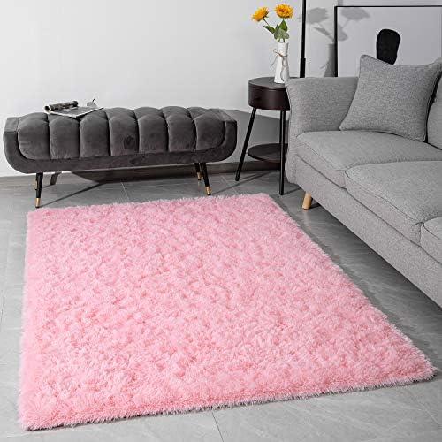 Modern Fluffy Large Area Rugs for Living Room Bedroom, Soft Shaggy Plush Long Fur Rug Kids Non-Slip Play Mats, Fuzzy Floor Carpets for Girls Room Dorm Nursery Indoor Decor, Baby Pink 3×5 Feet