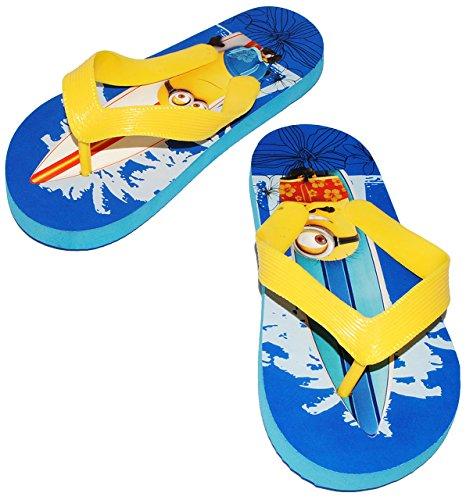 """Zehentrenner Sandalen - Gr. 29 / 30 - """" Minions - Ich einfach unverbesserlich """" - rutschfeste Schuhe Schuh / Badeschuhe mit Profilsohle - für Kinder - Jungen & Mädchen / Hausschuhe Gartenschuhe - Wass"""