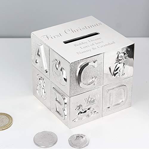 regalo de Navidad ideal para reci/én nacido regalo de bautizo para ni/ñas y ni/ños regalo de agradecimiento Hucha personalizada grabada ABC ba/ñada en plata