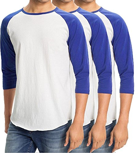Men's Plain Baseball Athletic 3/4 Sleeve 100% Cotton Tee Shirt - 3 Pack 3/4 Sleeve Athletic T-shirt