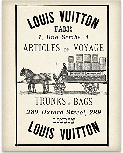 Antique French Fashion - Louis Vuitton Wagon Advertisement Art Print - 11x14 Unframed Art Print - Great Home and Bathroom Decor