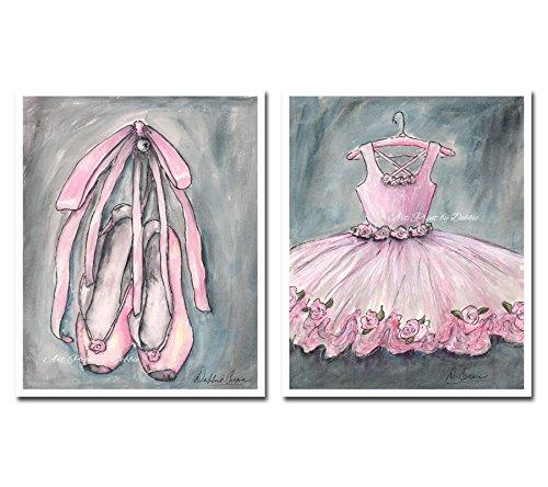 Girls Room Wall Art Prints Pink Ballerina Nursery Wall Art, Set Of 2, Artwork For Girls Room, Girl Baby Shower Gift Dance Theme, 6 Sizes - 5 x 7