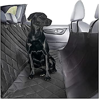 Plush Paws Ultra-Luxury Pet Seat Cover with Seat Anchors, 2 Harness, 2 Seat Belts for Cars Trucks & Suv Waterproof, Nonslip Silicone Backing -Reg Black