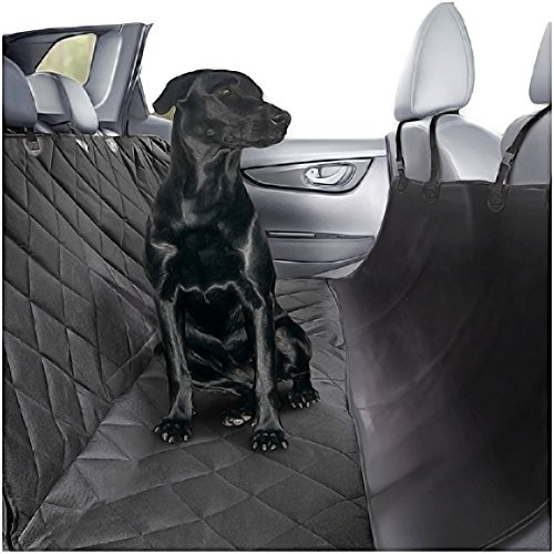 Plush Paws Ultra-Luxury Pet Seat Cover with Seat Anchors, 2 Harness, 2 Seat Belts for Cars Trucks & Suv Waterproof, Nonslip Silicone Backing -Reg Black by Plush Paws