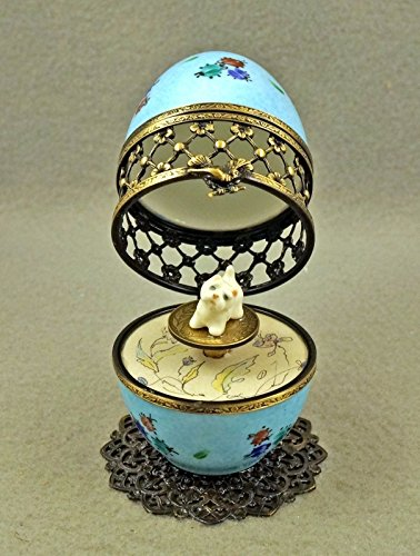 Authentic French Porcelain Hand Painted Limoges box Musical Egg with Westie Dog ()