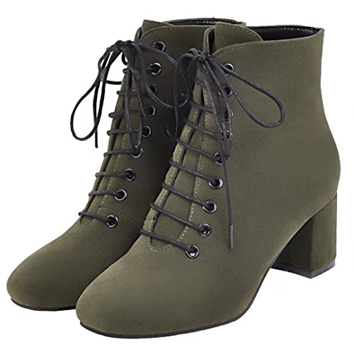 Autumn Block Winter Lace AIYOUMEI Bootie Heel Ankle Women's up Solid qAf4Aw