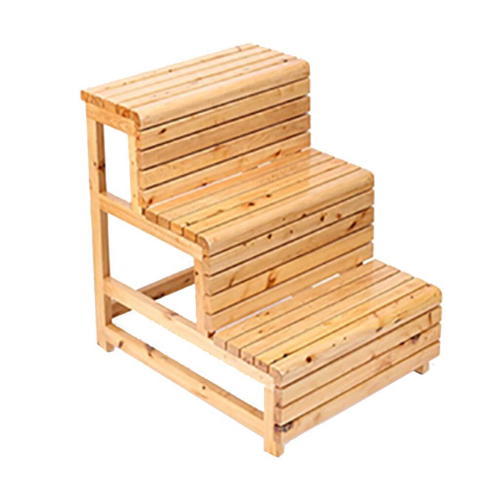 ステップスツールレジャーチェア 木製のはしごの浴室のスツールは、はしごを上昇する木製の3階段の階段のスツール (色 : B) B07CY1T9RC B
