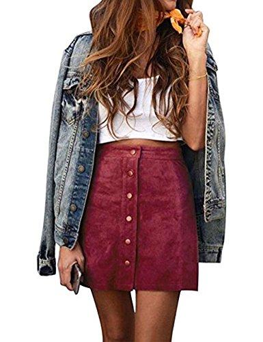WO-STAR Women's Casual High Waist Faux Suede Button Closure Plain A-Line Mini Short Skirt Maroon XL (Mini Star Skirt Big)