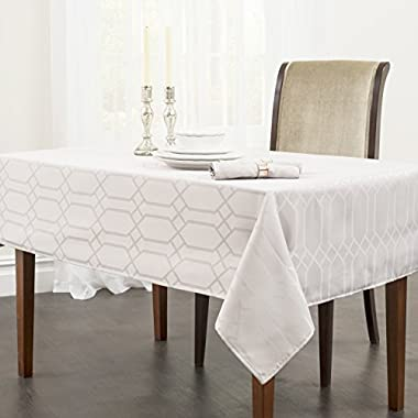 Benson Mills Chagall Spillproof Fabric Tablecloth, 60 by 84-Inch, Off White