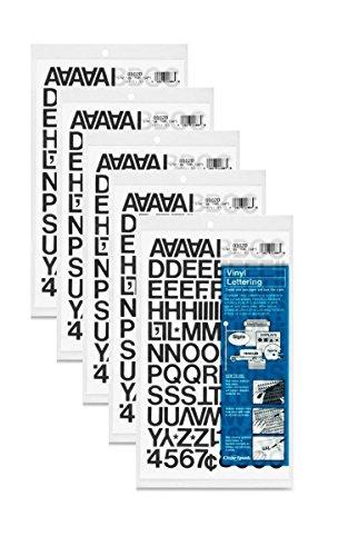 Chartpak Letters Vinyl (Chartpak 3/4-inch Black Stick-on Vinyl Letters & Numbers (01020), 5 PACKS)