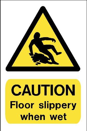 Warnzeichen Boden: Achtung, slippery when wet, A4