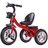 Little Bambino RideOn Pedal Tricycle Children Kids Smart Design 3 Wheeler | CE Approved Air Wheels Adjustable Seat Metal Frame Bell (Red)