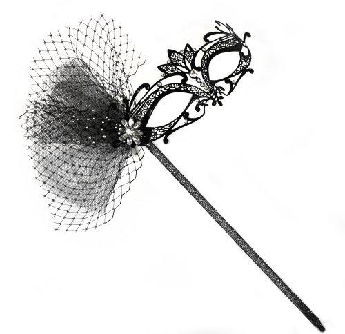 Success Creations Orleans Deluxe Laser-Cut Metal Black Venetian Women's Masquerade Mask on a Stick - Venetian Deluxe Mask