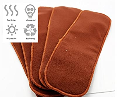 Natural Coffee cloth diaper inserts - reusable, washable, soft 10 pieces, 4 layers best for baby, toddlers and infants