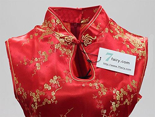 7Fairy Damen Rot Chinesisch Hochzeit Kleid Qipao Blumen Lang Schlüsselloch