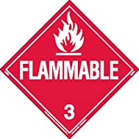 Labelmaster Z-EZ2 Flammable Liquid Hazmat Placard, Worded, E-Z Removable Vinyl (Pack of 25)
