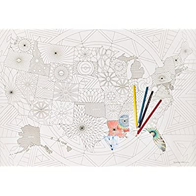 Winding Paths Art Giant USA Coloring Map (32x24)- Educational Blank State Map for Homes or Schools - for Use with Colored Pencils, Markers or Crayons-Ships Rolled in Durable Tube-Premium Quality: Toys & Games