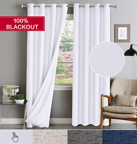 100% Blackout Window Curtains for Living Room Textured Primitive Linen Curtain Dreapes with Anti-Rust Grommet Top Waterproof Panels Pair for Bedroom, 84
