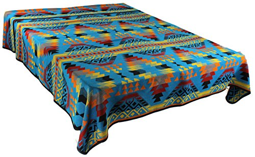 Splendid Exchange Southwestern Bedding Trail Blazer Collection, Mix and Match, Queen/Full Size Reversible Bedspread, Shimmering Stone Blue and Yellow