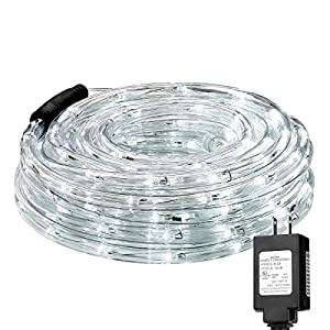 LE 33ft 240 LEDs Rope String Lights, 6000-6500K Daylight White, Waterproof, Indoor Outdoor LED Rope Lights for Garden Patio Wedding Party Thanksgiving (Power Adaptor Included)