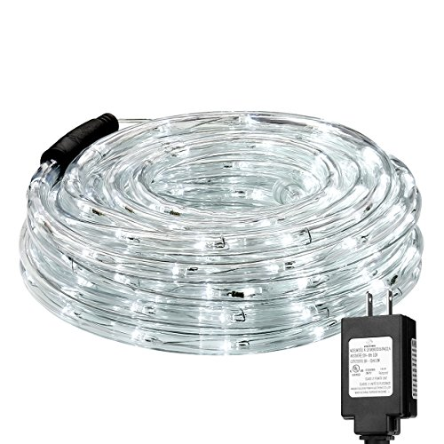 LE 33ft 240 LEDs Rope String Lights, 6000-6500K Daylight White, Waterproof, Indoor Outdoor LED Rope Lights for Garden Patio Wedding Party Thanksgiving (Power Adaptor Included) (Patio Outdoor Diy Bar)