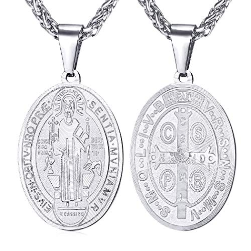 U7 Men Women St Benedict Medal Necklace Stainless Steel Chain Oval Shape Christian Sacramental Medal Pendant Religious Jewelry, 22